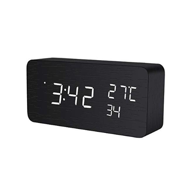 ModernDeco 木質簡約多功能LED電子鐘 聲控 溫度顯示 日本