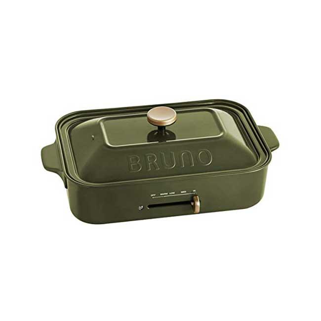 BRUNO 2018秋冬限定 多功能電烤盤 橄欖綠 鑄鐵 無煙 烤盤 生鐵鍋